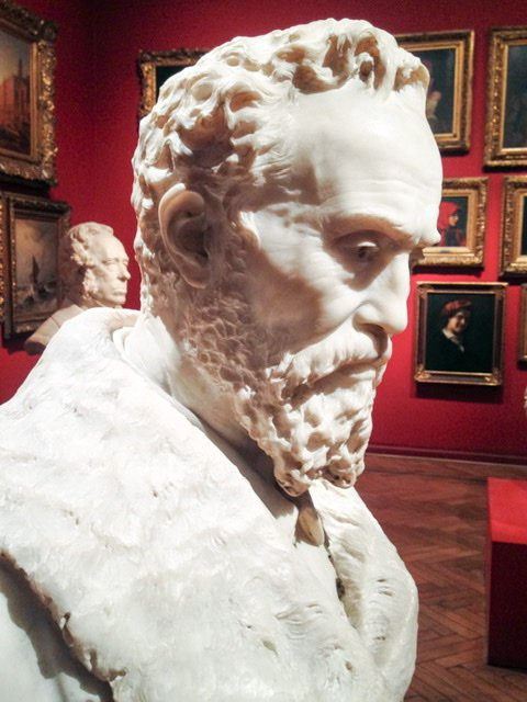 A marble bust of Miguel Angel by Pietro Calvi